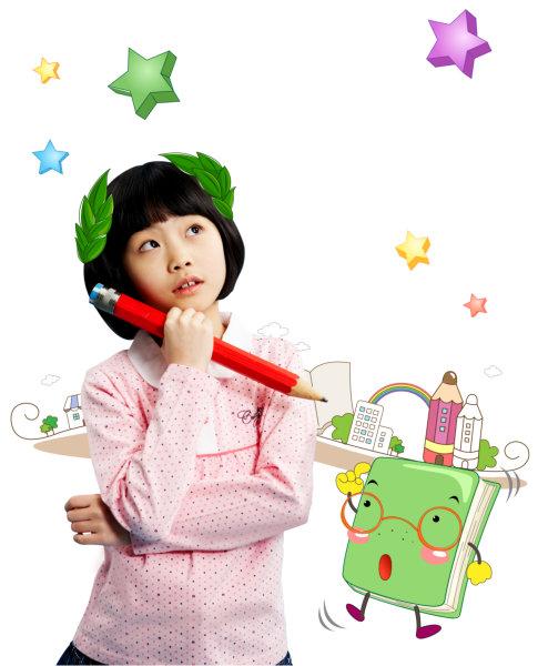 卡通星星背景拿着红色大铅笔幻想未来的小学女生psd模板下载