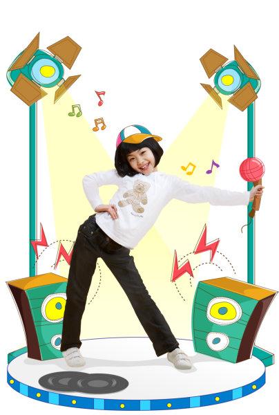 卡通漫画宠物人物舞台跳舞的小女孩风格psd素恐怖背景漫画下载店图片