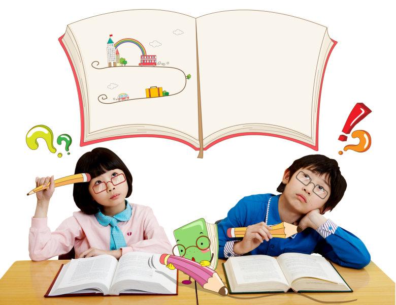 卡通书本背景问号感叹号想问题的小学生psd模板素材免费下载