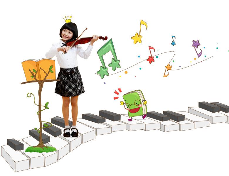 卡通多彩的立体音符背景站在刚琴键盘上拉小提琴的