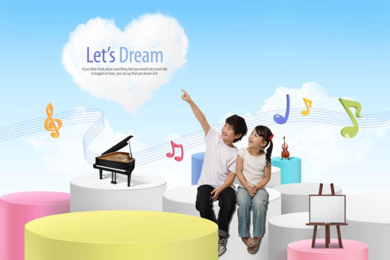 卡通矢量音符背景抠好的钢琴图片开心说笑的儿童人物psd素材下载