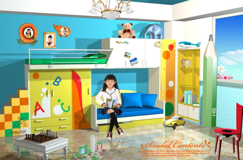 可爱的儿童房装修效果图psd模板素材免费下载