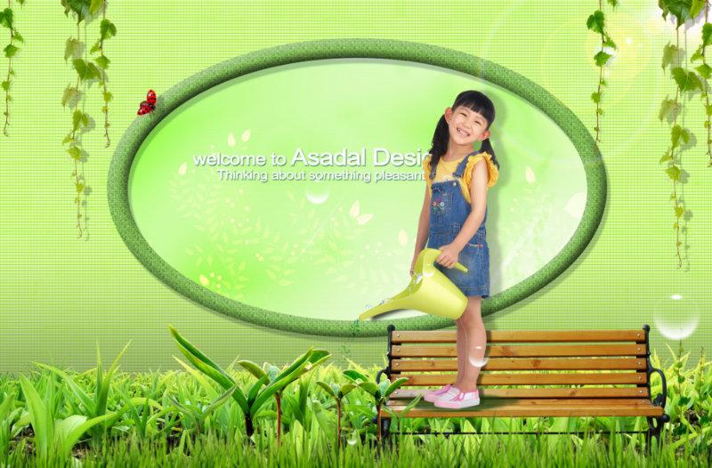 藤蔓椭圆形边框站在长凳上浇花的女孩psd模板素材