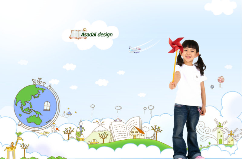 蓝天白云儿童卡通画背景拿着风车的小女孩儿童人物psd素材免费下载