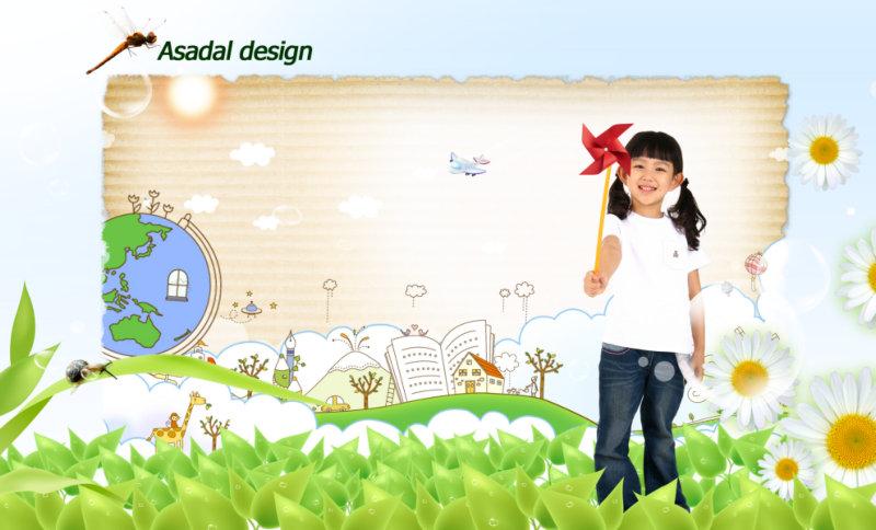 漂亮的卡通画报背景拿着风车的小女孩人物图片psd素材免费下载