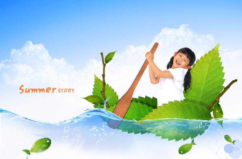 蓝天白云水面背景坐在树叶的小船里划船的小女孩人物psd模板素材下载