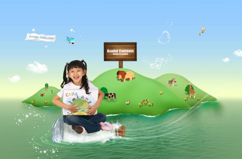 绿色卡通小岛上的动物园坐在漂流瓶上的小女孩图片psd素材免费下载