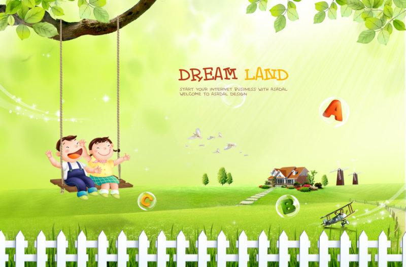 绿草地小房子荡秋千的卡通儿童可爱的韩国儿童模板psd