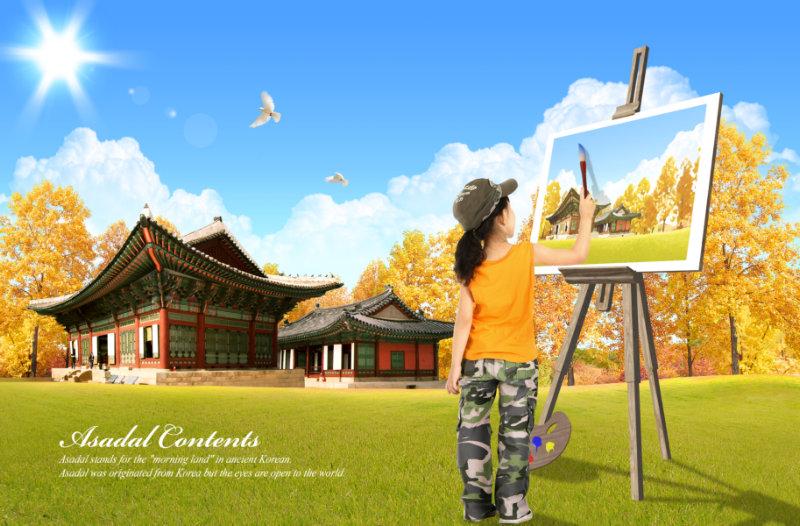 秋天的枫树林背景野外画画的小女孩儿童人物模板psd素材免费下载