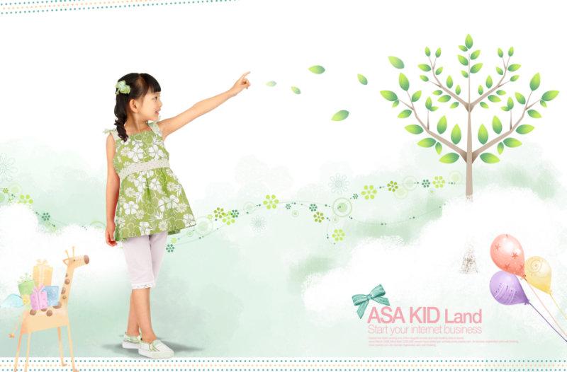 漂亮的韩国卡通云朵上小树儿童相册背景psd模板下载