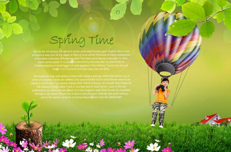 树叶边框绿草地背景坐在热气球上的小女孩psd素材免费下载