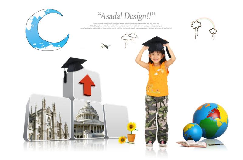 卡通地球月亮星星背景戴博士帽的小女孩图片儿童模板psd素材