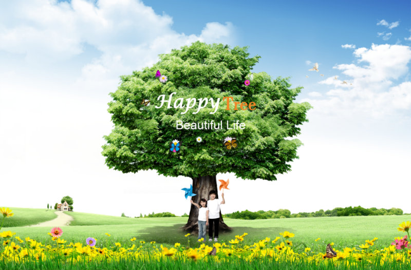 草地上绿色的苍天大树下拿着风车的男孩女孩儿童人物psd素材免费下载