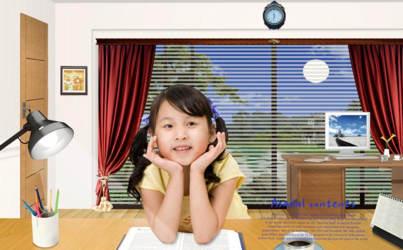 psd素材 设计素材 儿童人物 >> 素材信息  韩国家居书房背景坐在书桌