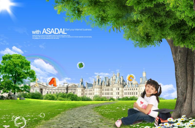 蓝天白云欧洲城堡背景坐在大树底下微笑的小女孩psd模板下载