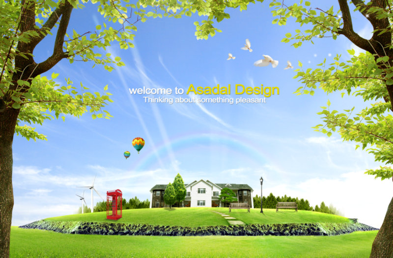 素材/大树前景蓝天上飞翔的白鸽山坡草地上的郊区别墅风景psd模板素材
