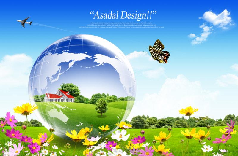 的小花前景飞舞的蝴蝶水晶地球等韩国素材psd模板