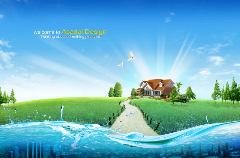 蓝天白云光芒四射的图片背景绿色草地上的小房子韩国设计psd素材下载
