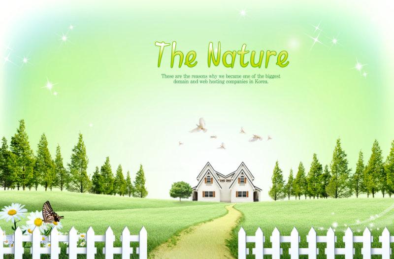 童话风格白色木栅栏围绕的草地上的韩国别墅psd模板