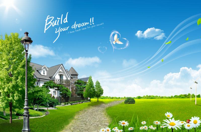 蓝天白云下的郊外别墅门前的石头小路别墅风景psd模板