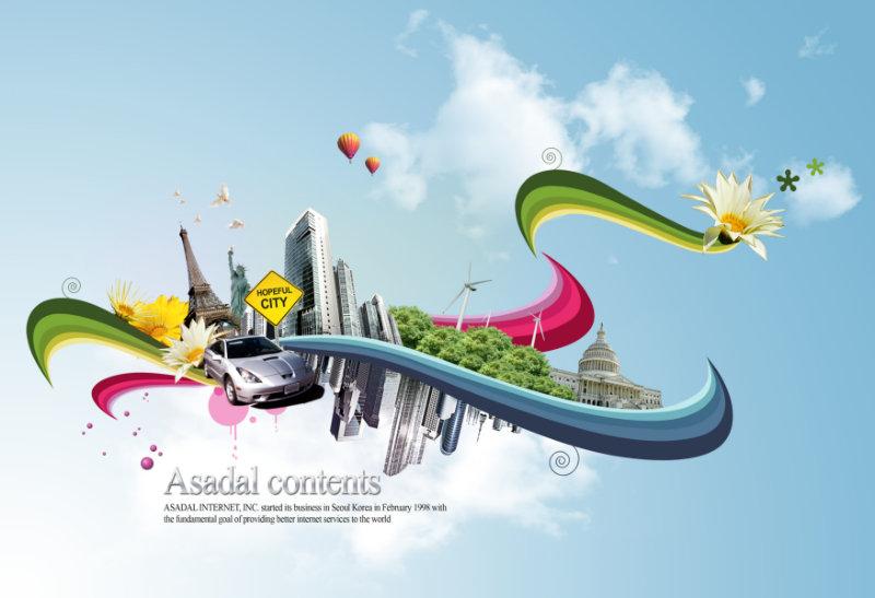 蓝天白云背景矢量风格城市交通抽象宣传画韩国设计psd素材免费下载