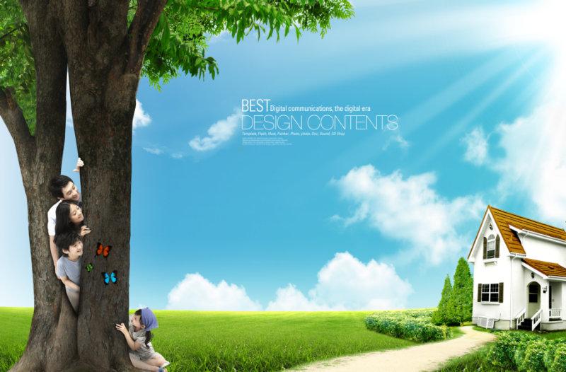 一家人抠好的大树树干图片韩国背景psd素材下载