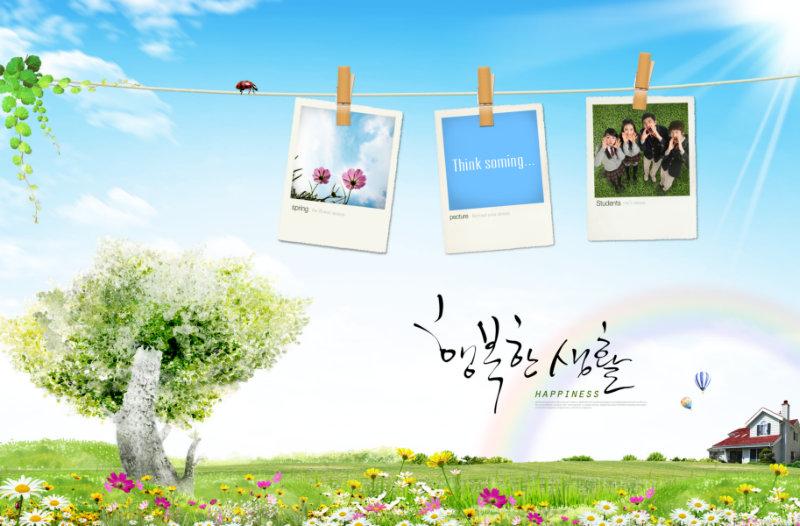 蓝天白云下的小花小草矢量风格小树绳子上挂着的照片韩国背景psd素材