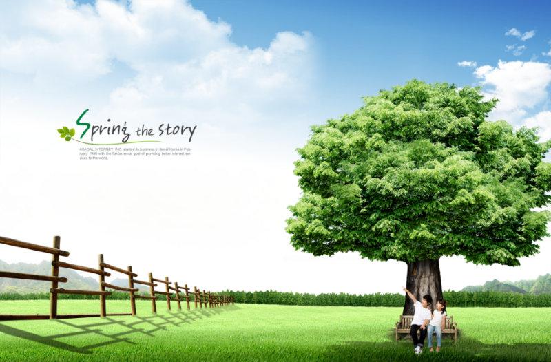 蓝天白云背景草地上的苍天大树漂亮的韩国风景素材