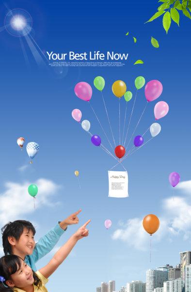 白云蓝天下飞舞的彩色小气球图片指着天空的小孩人物psd素材免费下载