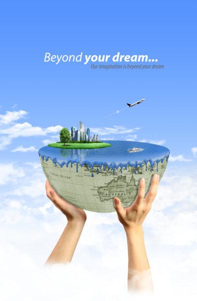 双手托起的半个地球图片飞机蓝天白云背景韩国设计psd素材免费下载