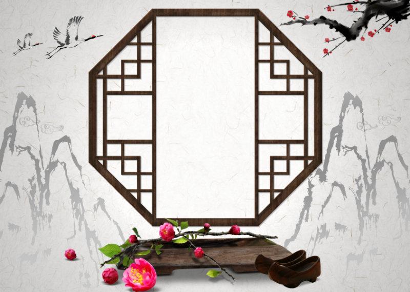 古典水墨山水背景抠好的木窗户木屐桃花图片韩国背景psd素材下载图片
