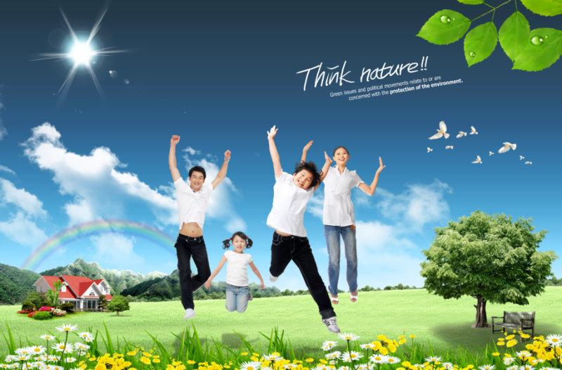 蓝天白云绿草地背景欢呼跳跃的全家人物图片psd模板素材下载