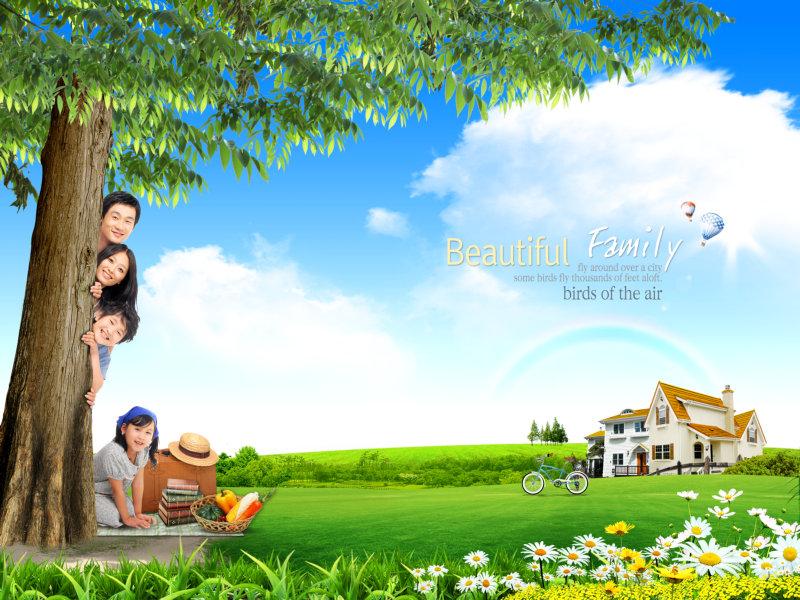 蓝天白云彩虹别墅绿草地背景图片躲在大树背后的一家人psd素材免费