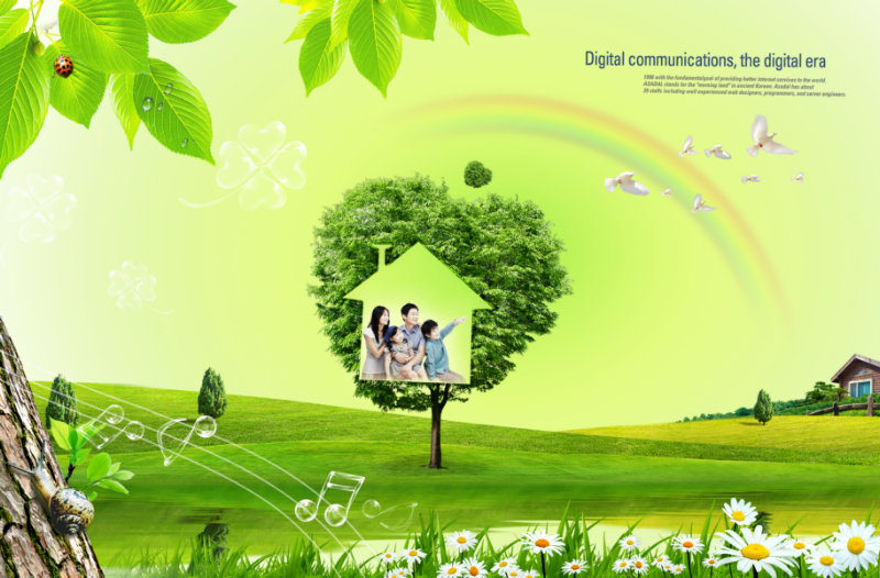 绿色山坡上的小树彩虹飞翔的白鸽背景全家福照片psd