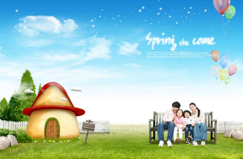 精致的卡通蘑菇房子长凳背景照片模板psd素材免费