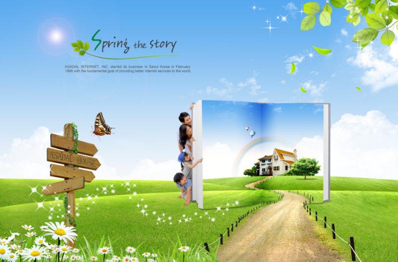 草地上的乡间小路创意书本蓝天白云背景玩耍的一家人图片psd素材下载