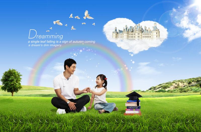 父女牵手手绘_草地彩虹背景一起手牵手的父女人物psd模板素材下载