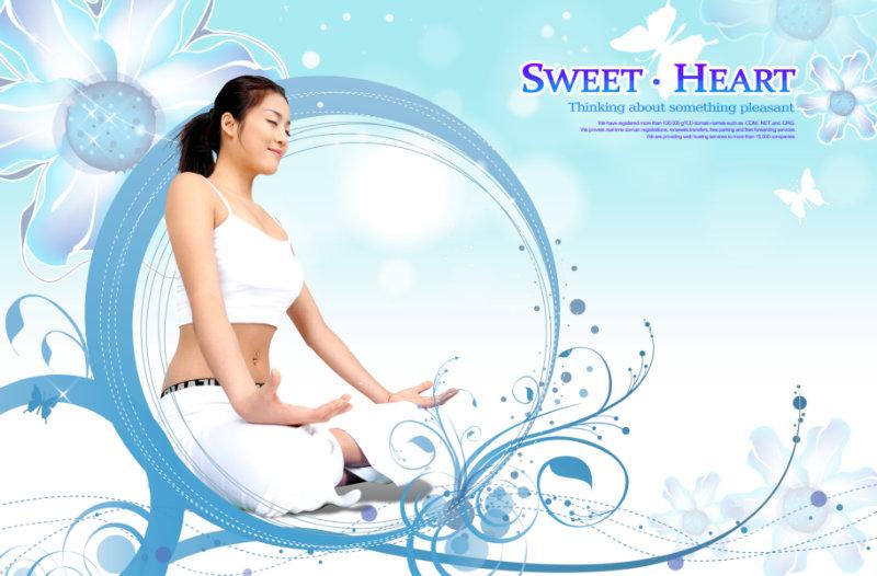 矢量花纹背景闭着眼睛做瑜伽的美女美容休闲会所广告