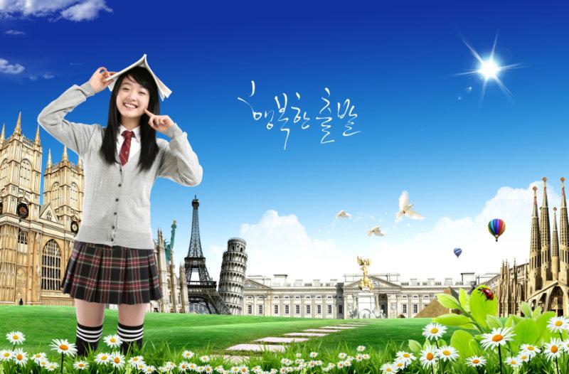 可爱的韩国校园青春美少女人物psd素材免费下