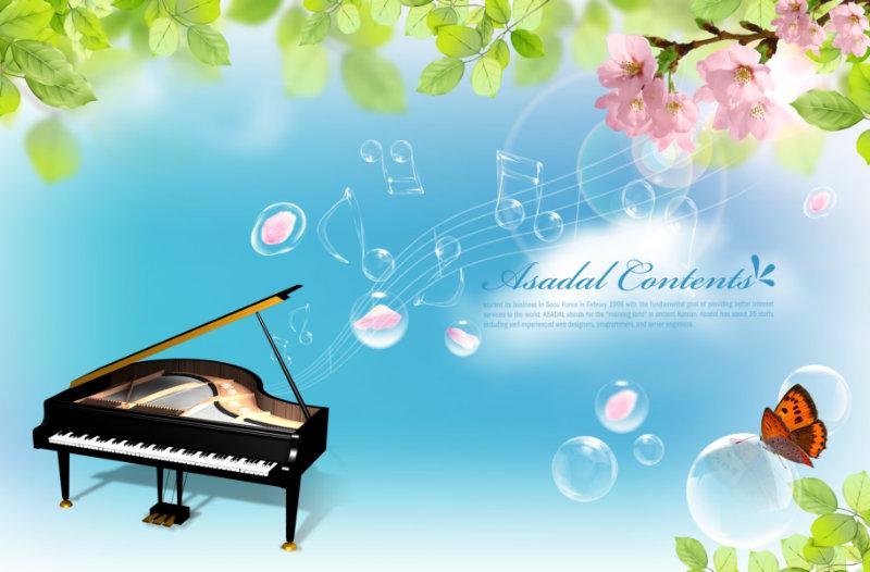 蓝天白云背景钢琴水晶音符设计素材psd下载