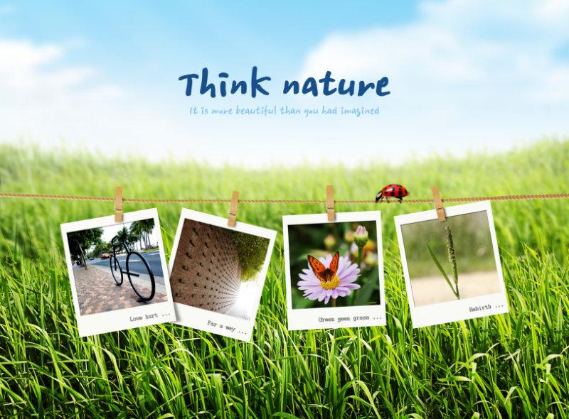稻田背景夹子夹着的照片边框psd素材免费下载