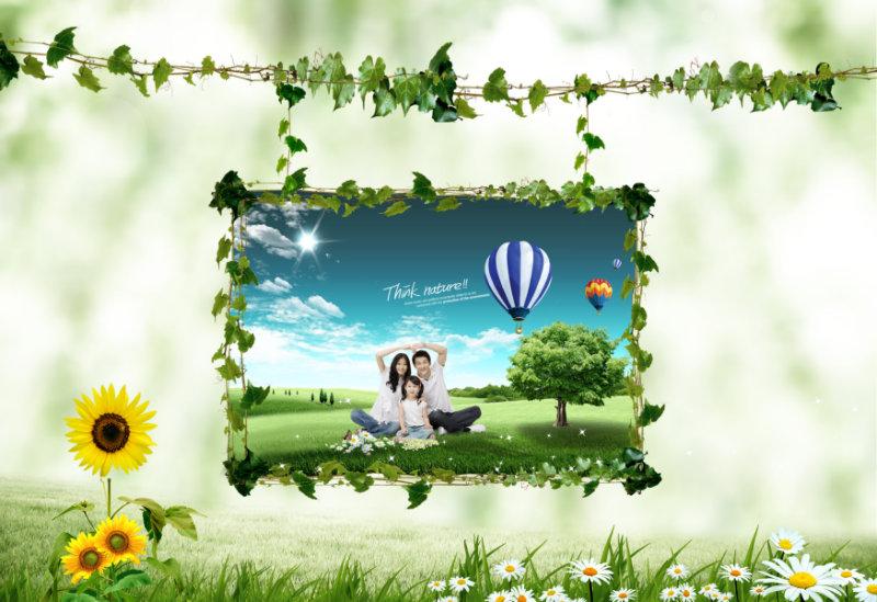 绿色花草背景藤蔓风格全家福照片边框模板psd素材免费