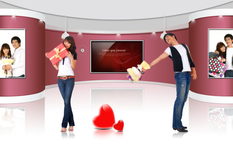 qq空间实体背景墙求爱的90后情侣psd素材模板免费图片