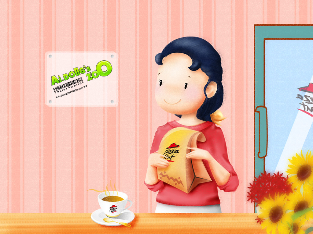 可爱的卡通小女孩背景图片