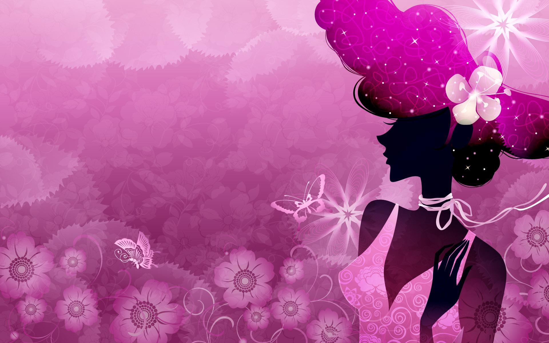 时尚美女剪纸轮廓高清背景图片素材2