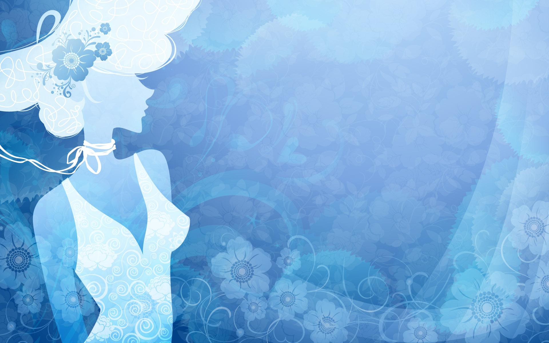 【制作网页素材篇】时尚美女剪纸轮廓高清背景图片素材2 - 浪漫人生