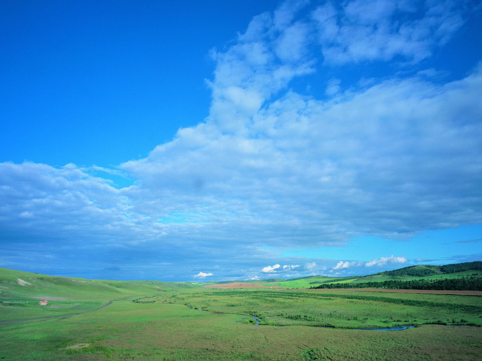 夏日茫茫草原绿 草地蓝天 白云 高清 图片素材 29