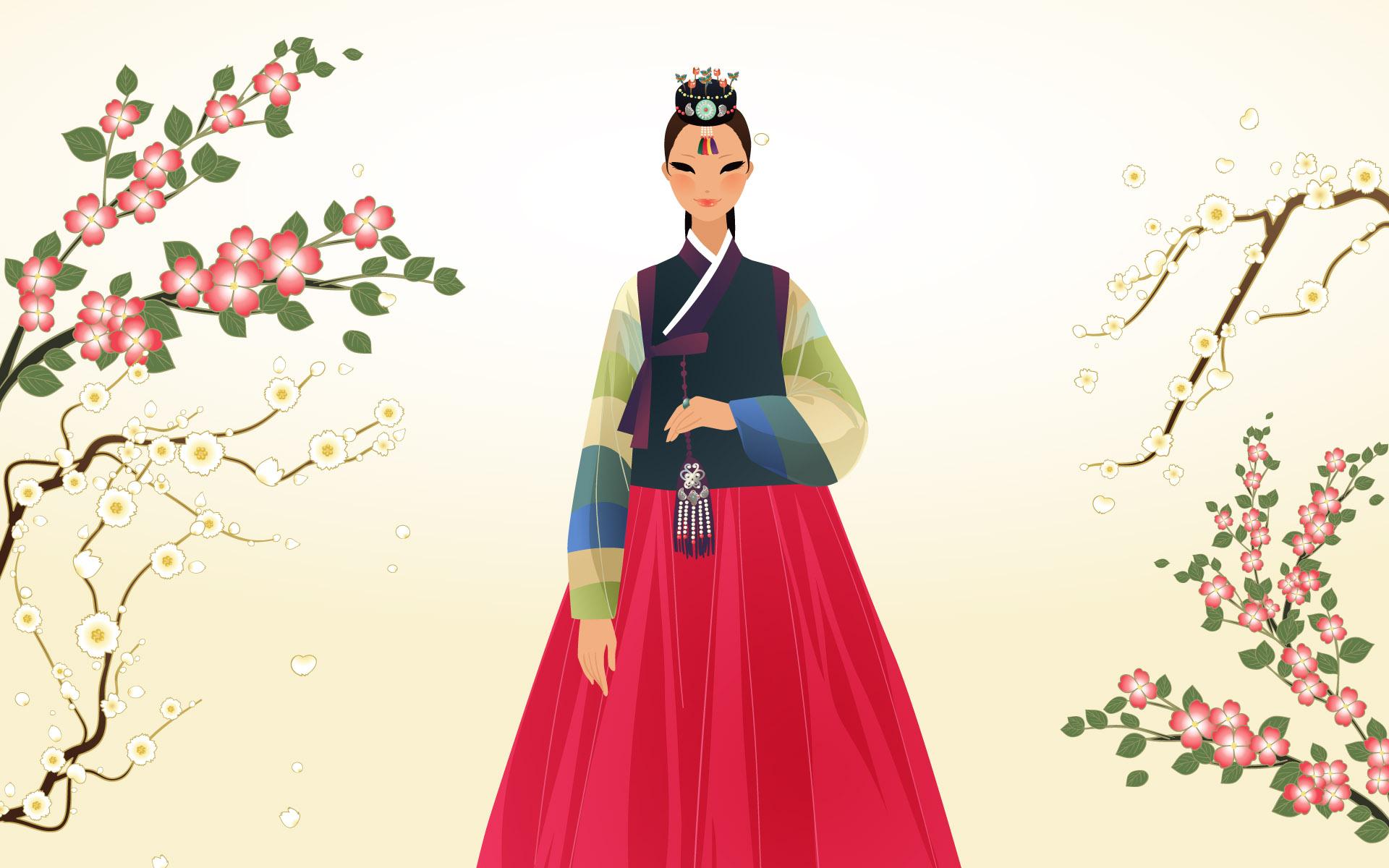手绘朝鲜族插画金发(40P)[中国PhotoShop资源美女卡通美女图片