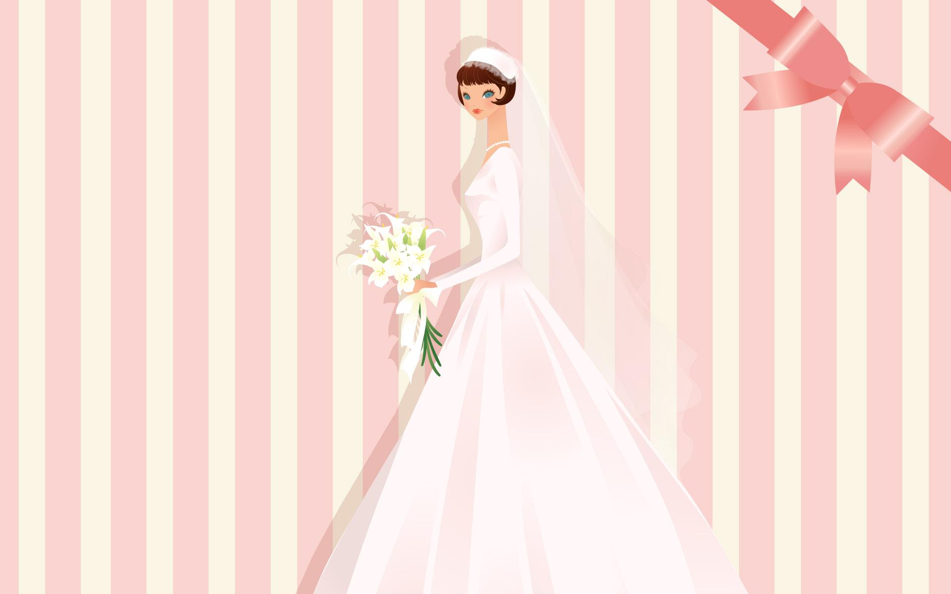 手绘卡通新娘婚纱图片素材(40p)