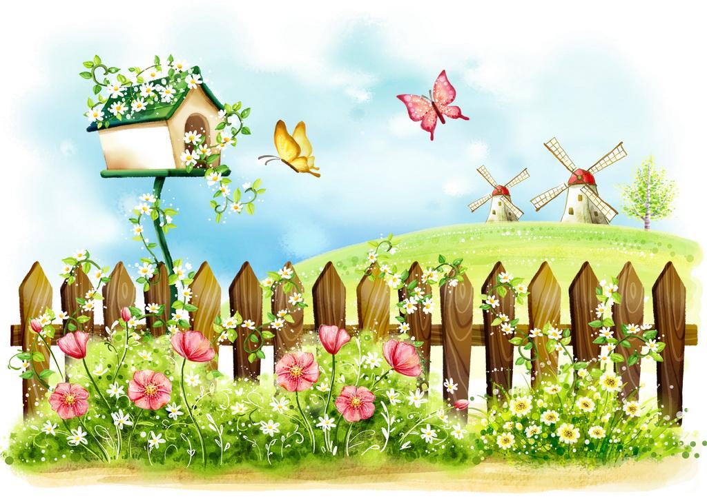 春天卡通风景插画图片